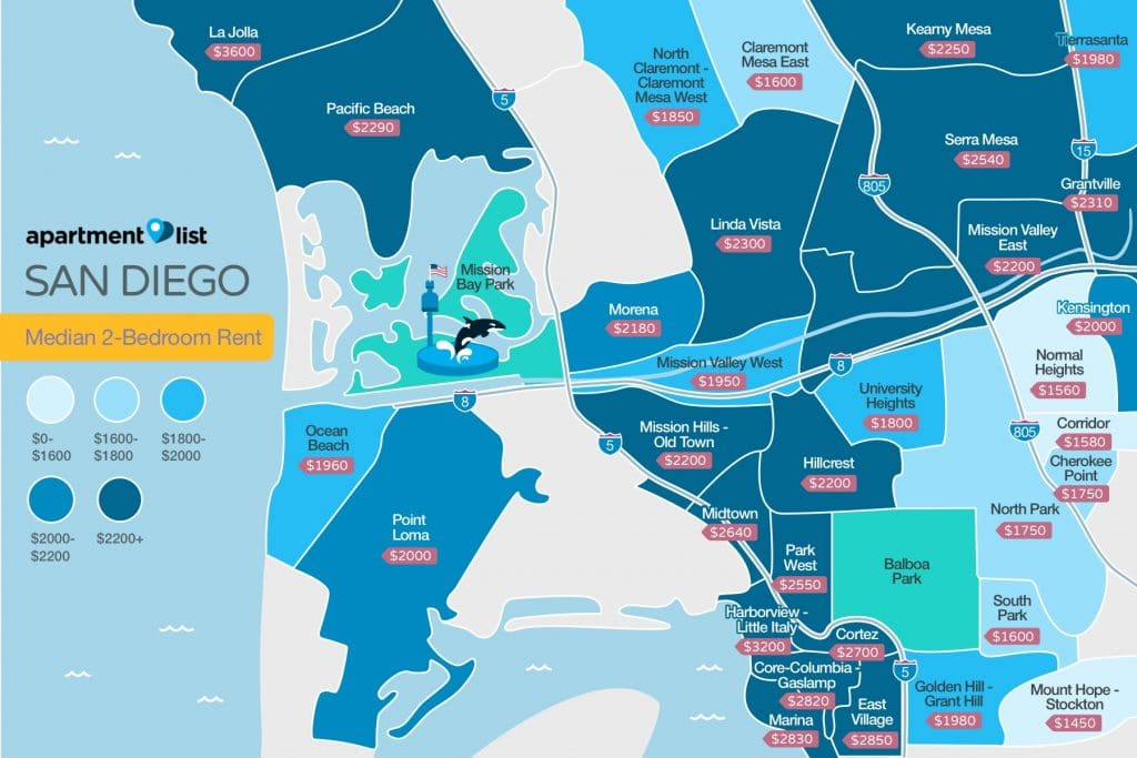 Map of San Diego Rental Costs