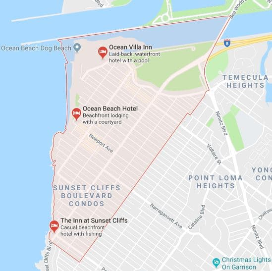 Ocean beach moving company service map