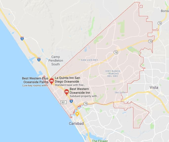 Oceanside moving company map of service areas